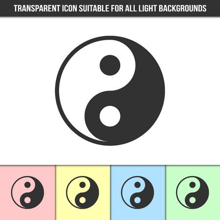 光の背景の異なるタイプのシンプルな輪郭透明陰陽アイコン