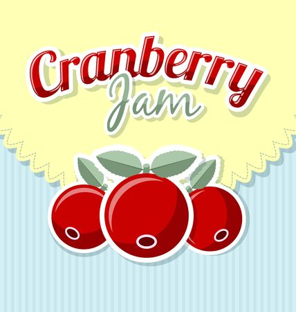Cranberry jam label with title on striped background Иллюстрация