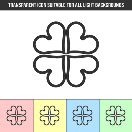 Simple outline transparent clover icon on different types of light backgrounds 일러스트