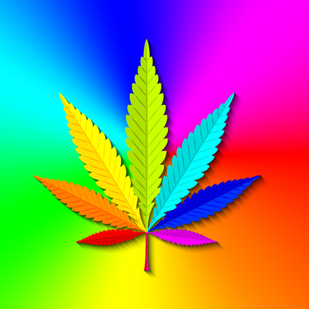 Marijuana hemp (Cannabis sativa or Cannabis indica) leaf on colorful radial gradient background made of rainbow spectral colors Illustration