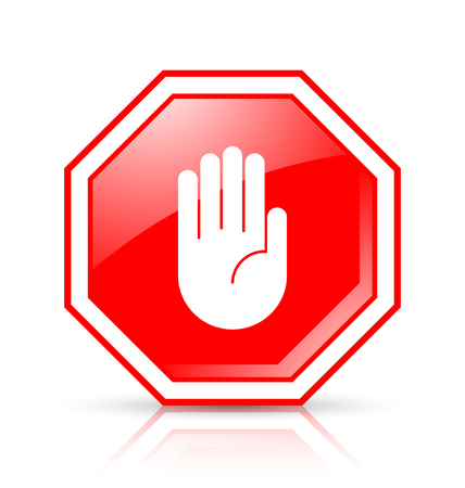 Octagonal and glossy STOP hand sign placed on white background with reflection Illustration