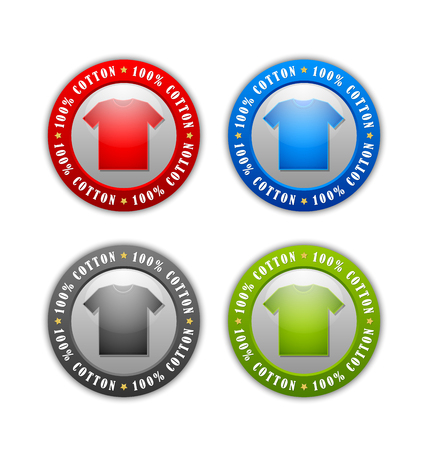 100% cotton T-Shirt badges or icons isolated on white background