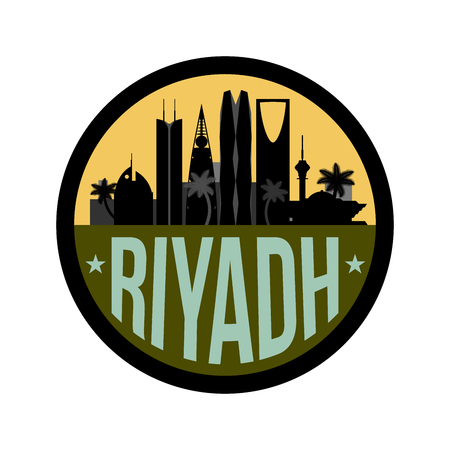 Riyadh Saudi Arabia city skyline silhouette icon or badge on white background. Vector illustration