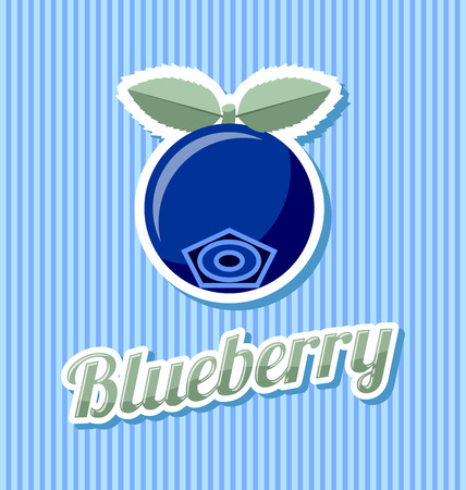 Retro blueberry with title on striped background