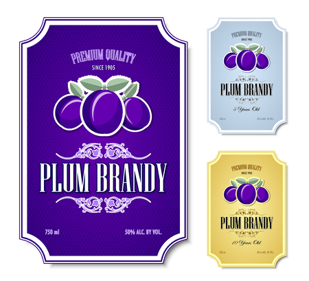 Set of plum brandy distillate labels on white background