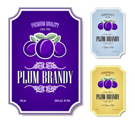 Set of plum brandy distillate labels on white background