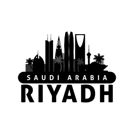 Black and white Riyadh Saudi Arabia city skyline silhouette. Vector illustration