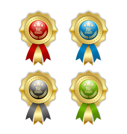 Top quality rosettes placed on white background