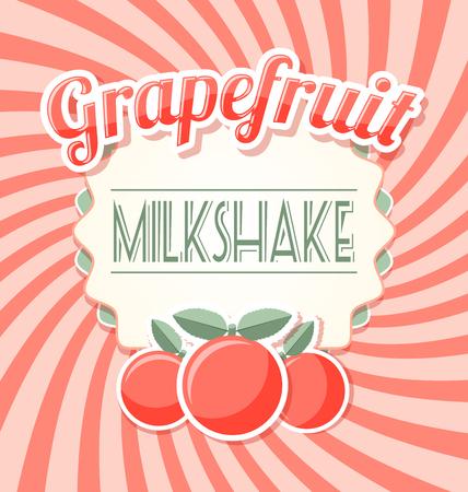 Grapefruit milkshake label in retro style on twisted background