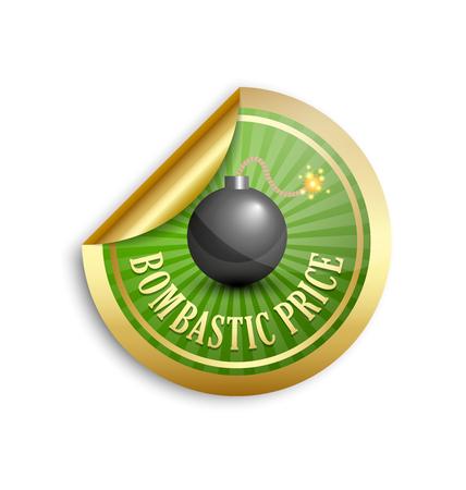 Golden bombastic price sticker for custom design purposes