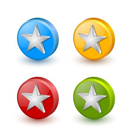Kleurrijke sterpictogrammen die op witte achtergrond worden geplaatst Stock Illustratie