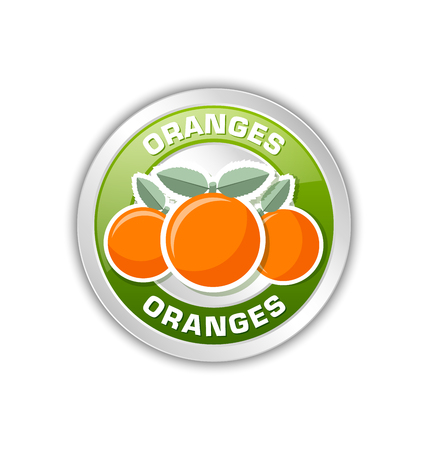 Silver metallic badge with three oranges placed on white background