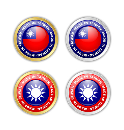 Made in Taiwan badges with Taiwanese flag in circular frame isolated on white background