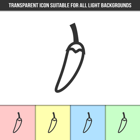 Simple outline transparent chilli pepper icon on different types of light backgrounds
