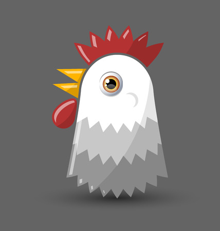 Hen or chicken head icon isolated on grey background