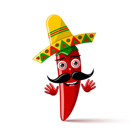 Red chilli pepper character with sombrero hat on white background Illustration