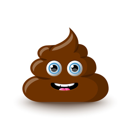 Funny and cute poop character placed on white background Vectores
