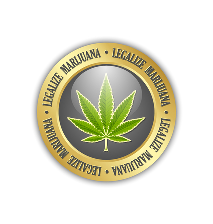 Golden legalize marijuana hemp (Cannabis sativa or Cannabis indica) leaf icon or badge on white background