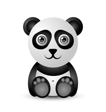 Netter und lustiger Pandacharakter lokalisiert auf weißem Hintergrund Standard-Bild - 93687781