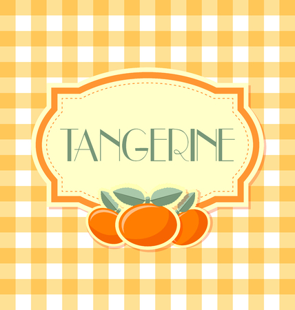 Tangerine label in retro style on squared background Иллюстрация