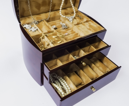The wooden jewelry box with oak colour for keeping jewelry