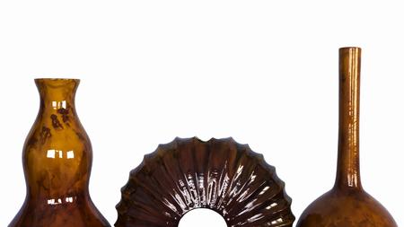 room accents: Glossy pittura vascolare legno di mango isolato su sfondo bianco Archivio Fotografico