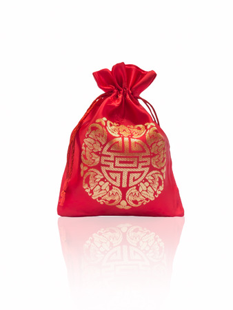 Red silky money bag : Lucky Pouch Chinese tradition.