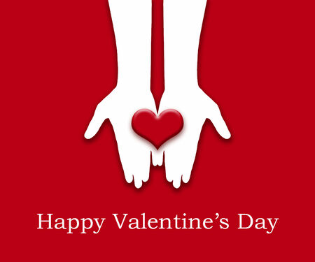 human's arm: love concept  holding a red heart in hands,Valentine s card