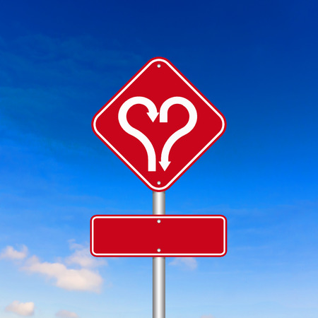Heart shape with arrow road sign photo