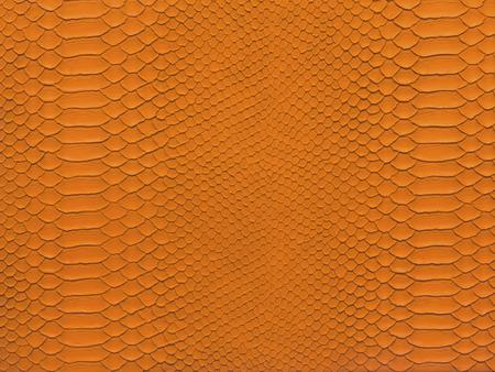 Snake skin closeup pattern orange color for background photo