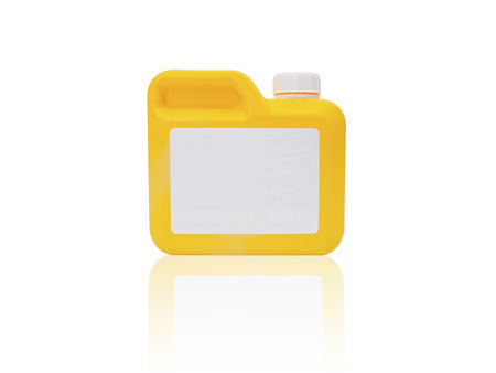 Yellow plastic gallon isolated on a white background.  photo