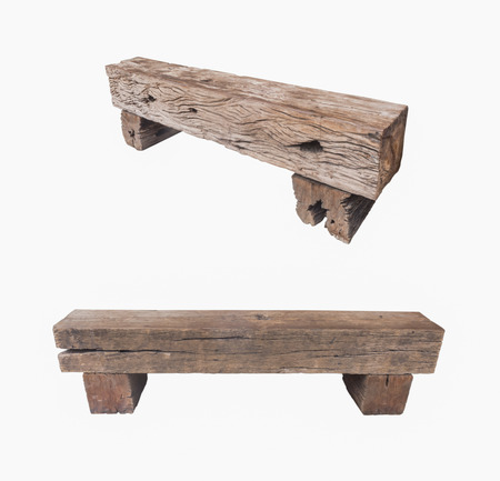 wood railroad: Bench made of old railroad ties isolated Stock Photo