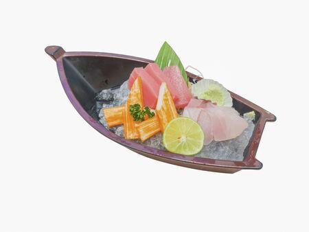 Small japanese sashimi with ice boat set photo