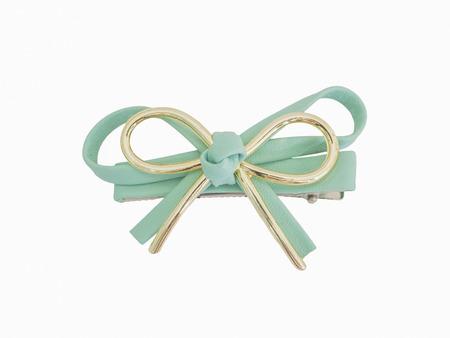 bow hair: Pelo de cuero sint�tico pajarita aislado