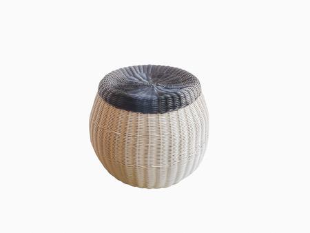 Modern beautiful rattan stool on a white background photo