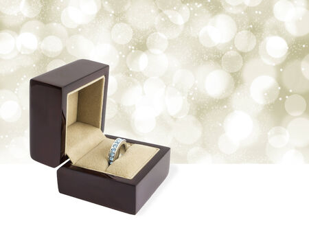 Wooden  box and diamond ring for wedding or Valentine photo