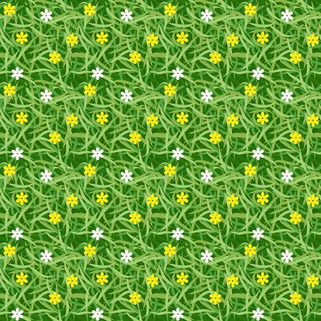 speelveld gras: Groen gras veld met kleine bloem naadloze vector voor patroon en achtergrond