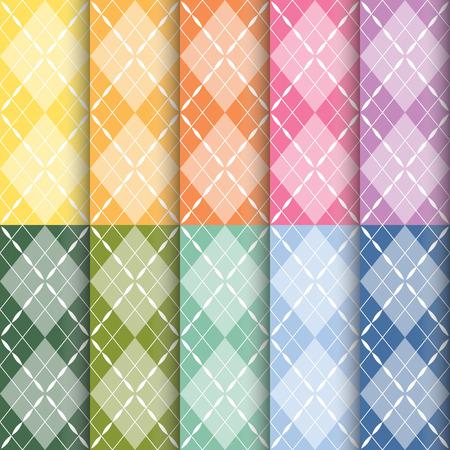 set of plaid pattern eamless background, vector illustration Illustration