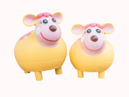 earthenware: earthenware painted sheep toy for gardening decoration,isolated
