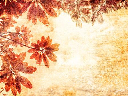 Orange leaves on an old paper grunge background