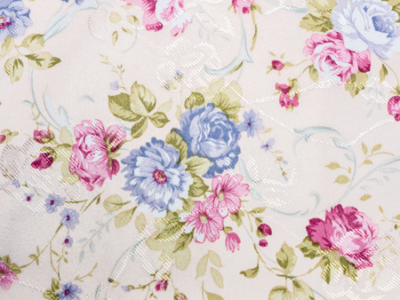 print and wale of fabric in beautiful floral pattern photo