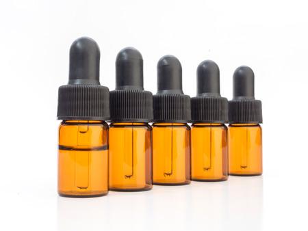 Group of dropper bottles on white background Standard-Bild