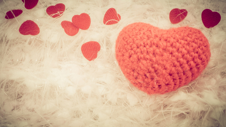 close knit: Close up crochet knit red heart on wool, vintage effect Stock Photo