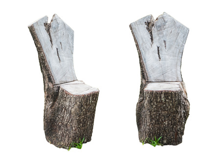 creosote: Chair made of natural log wood isolated on white background