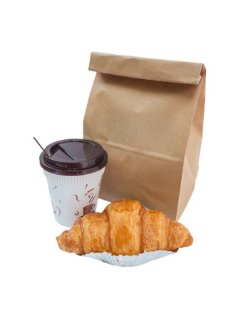 Breakfast to go,coffee and croissant with paper bag isolated on white background