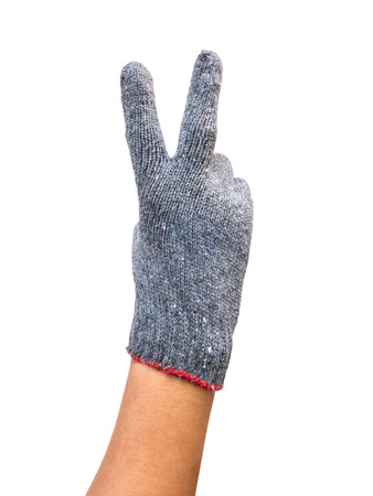 auction win: Hand with glove show two fingers up in the peace or sign for the letter V in sign language. Isolated on white