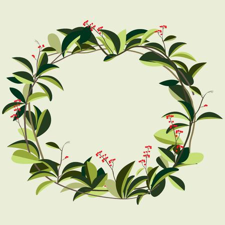 vine  plant: wreath of creeper flower vine plant vector illustration