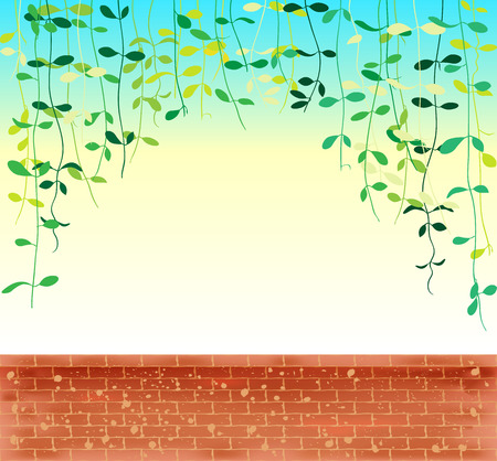 Vine leaves creeper over morning sky with brown brick wall pattern, vector illustration background.