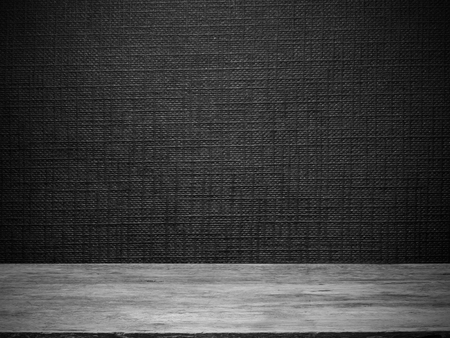 wooden floor and black wallpaper with line embossed pattern for  background Foto de archivo
