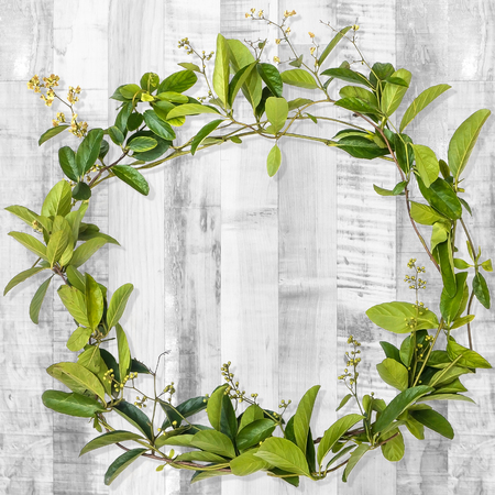wreath of creeper flower  on wooden plank background